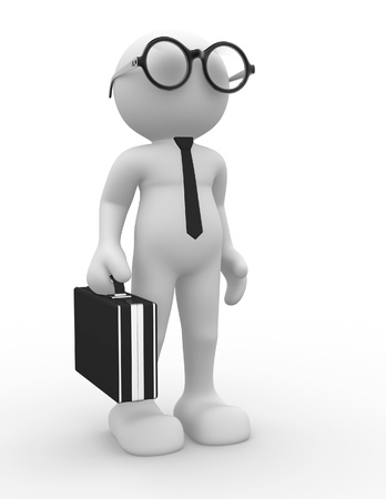 3d people - human character, person with eyeglasses and tie. Businessman with briefcase. Accounting. 3d render  photo