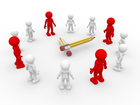 initiative: 3d people - human character, person  arranged in watch ( clock ) form. Strategy. 3d render Stock Photo