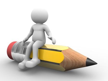 fournitures scolaires: 3d personnes - caract�res venues humain, personne et un crayon. Illustration de rendu 3d Banque d'images