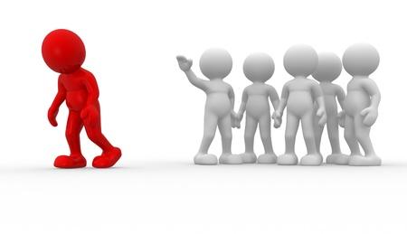 Persone 3d - carattere umano, persona. Discriminazione concetto. Diverso. 3d rendering illustrazione