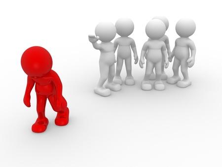 discriminacion: Gente 3d - carácter humano, persona. Discriminación concepto. Diferente. 3d hacer ilustración