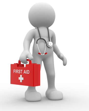 first aid sign: 3d people - human character, person with first aid and a stethoscope. Doctor. 3d render