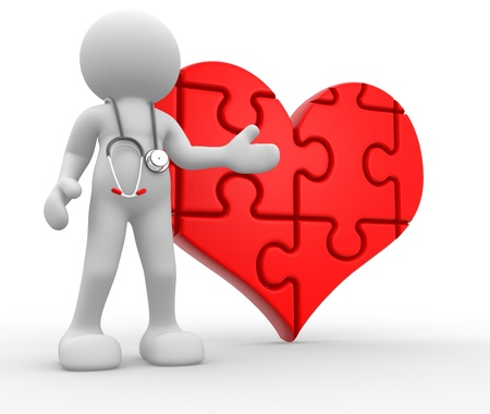 practitioners: 3d people - human character, person with a stethoscope and a big heart of puzzle ( jigsaw ). Doctor. 3d render
