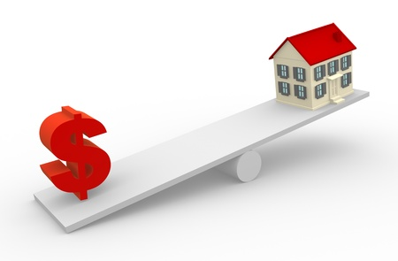 A house and dollar sign in the balance. 3d render photo