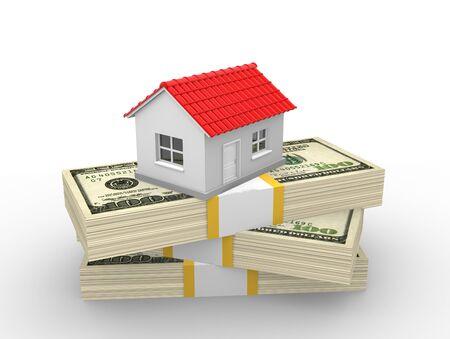 A house on money stack. Dollar. Real estate business concept. 3d render illustration illustration