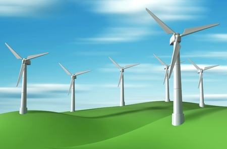 Wind turbine. Concept of ecology. 3d render photo