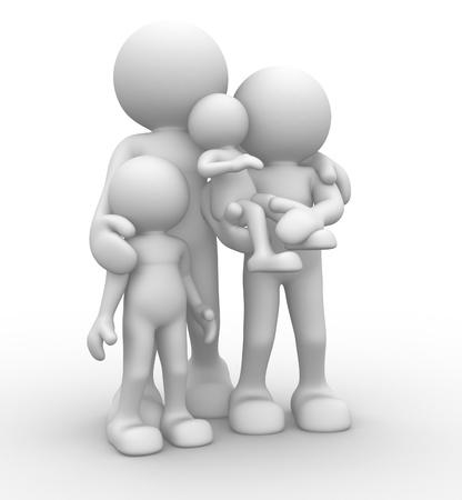 3d mensen - menselijk karakter, persoon. Ouders met kinderen. Concept van de familie. 3d render Stockfoto