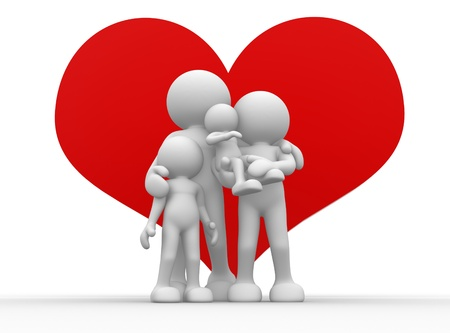 3d people - human character, person  and a big heart. Concept of happy family. 3render