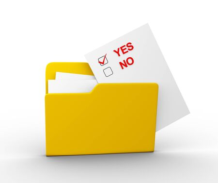 Checkbox yes or no and a folder. 3d render illustration