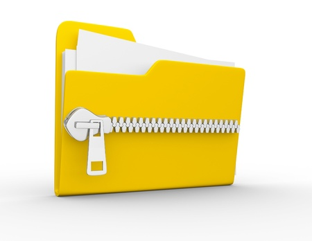 Folder icon with zip, over white background. 3d render photo