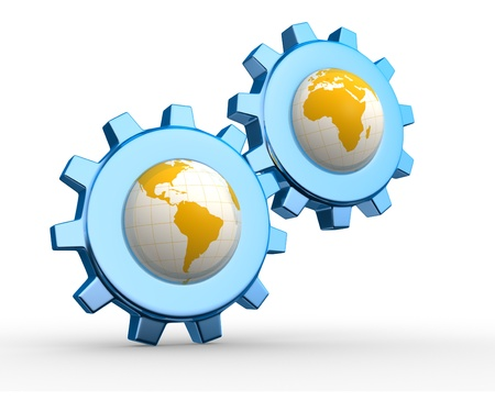 exactness: Conceptual Earth globes and gear mechanism. 3d render