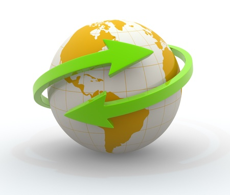 Two arrows surrounding Earth globe - 3d render  photo