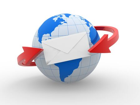 Two arrows surrounding Earth globe and  a envelope. International deliverys . 3d render photo