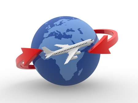 Two arrows surrounding Earth globe and a airplane flying. 3d render   photo