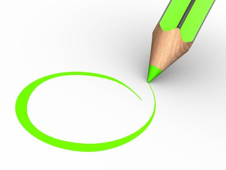 assign: A pencil and a blank checklist. 3d render illustration.