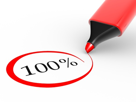 test result: Choose 100% rate and a marker.  3d render illustration  Stock Photo