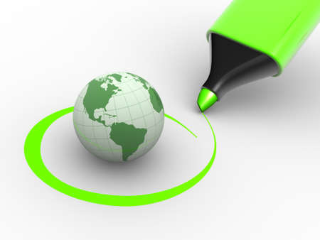 tickbox: Earth globe and a marker. Environment. Checkmark. 3d render Stock Photo