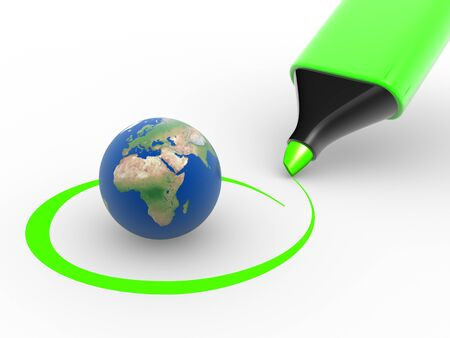 tickbox: Earth globe and a marker. Environment. Checkmark. 3d render