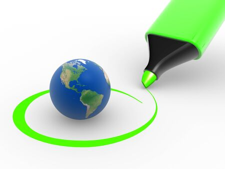 Earth globe and a marker. Environment. Checkmark. 3d render Stock Photo - 14802184