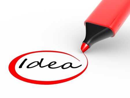 """circled: Marcador de l�piz y la palabra """"idea"""". 3d"""