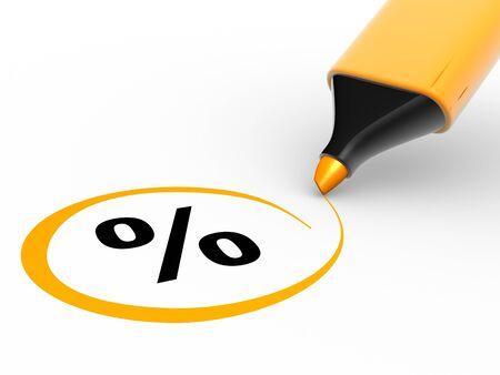 liquidation: 3d percent sign and a marker. 3d render illustration