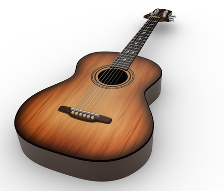 spanish culture: Acoustic guitar. 3d render illustration