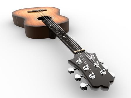 Akoestische gitaar. 3d render afbeelding