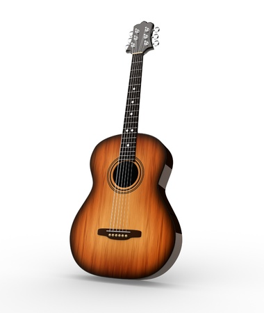 Acoustic guitar. 3d render illustration illustration