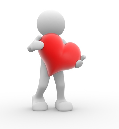 heart heat: 3d people - human character, person  with  red a heart. 3d render