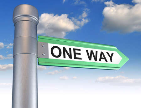 one way: One way road sign. 3d render illustration Stock Photo