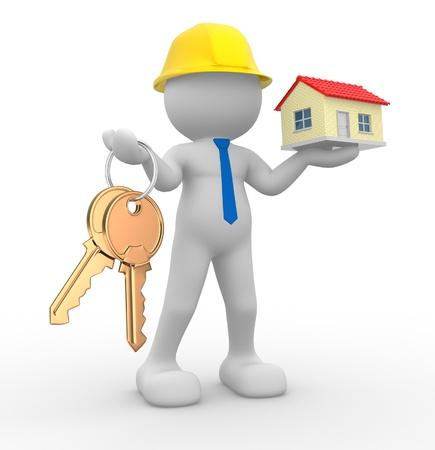 rental house: 3d gente - car�cter humano, persona con las llaves en la mano, y una casa. Generador de ingeniero. 3d render