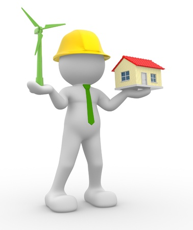 3d people - human character, person  with a wind turbine and a house. Concept of ecology. 3d render  photo