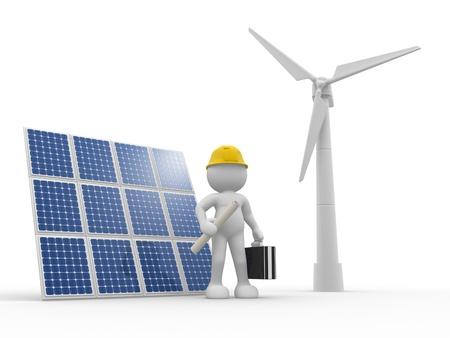 production of energy: 3d people - human character, person with briefcase and  solar panels, wind turbines (  wind-power ). Engineer . 3d render Stock Photo
