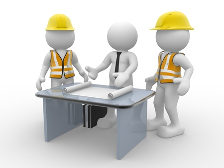 3d people - human character, person and a office with working draft. Engineer and businessman. Teamwork. 3d render photo