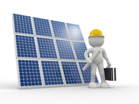 electric grid: 3d people - human character , person with briefcase and helmet. Engineer and a solar panel . 3d render illustration  Stock Photo