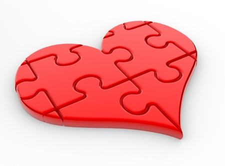 A big heart  and a puzzle ( jigsaw) . 3d render  Stock Photo - 14801918