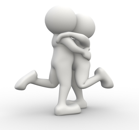 3d people - human character, person. Couple kissing and hugging. Concept of love. 3d render photo