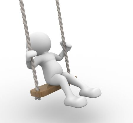 3d people - human character, person on the swing. Kid. 3d render photo