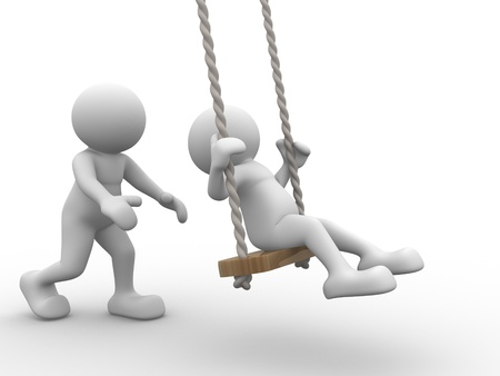 3d people - human character, person on the swing. Kid and parent. 3d render photo