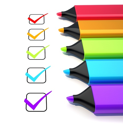 checkbox:  Marker and check mark. 3d render illustration Stock Photo