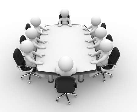 3d people - human character , person at a conference table. Leadership and team. 3d render illustration  illustration