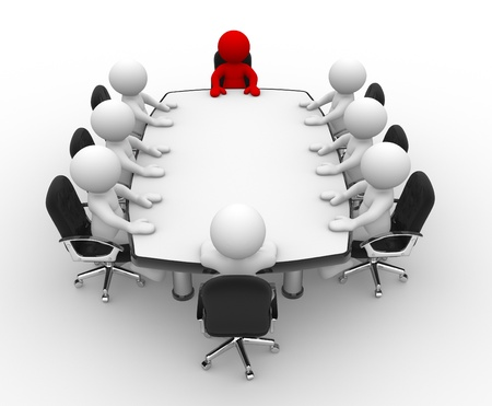 3d people - human character, person . Leadership and team at conference table . 3d render photo