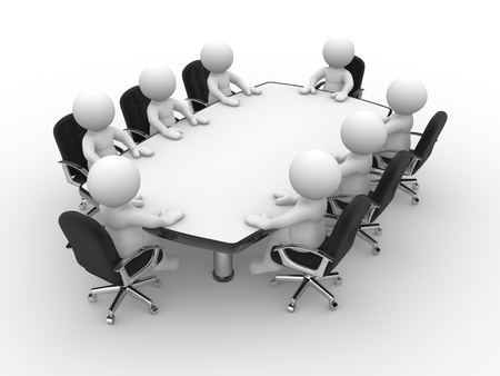 3d people - human character , person with team at conference table.  3d render illustration  illustration