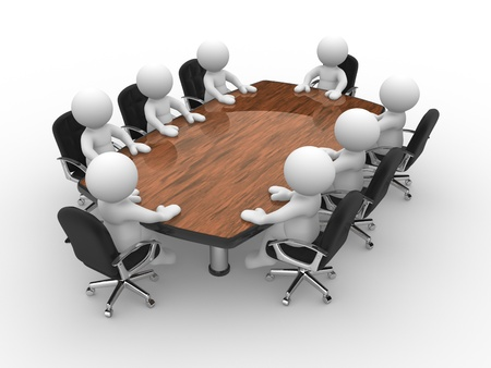 3d people - human character, person . Leadership and team at conference table . 3d render Stock Photo - 14802681
