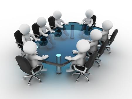 3d 사람들 - 회의 테이블에서 인간의 문자, 사람. 3d 렌더링