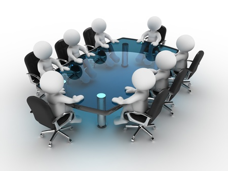 3d people - human character, person at conference table . 3d render photo