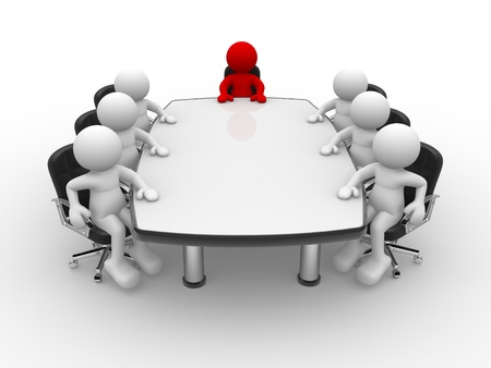 round chairs: 3d people - human character , person . Leadership and team at conference table.  3d render illustration Stock Photo