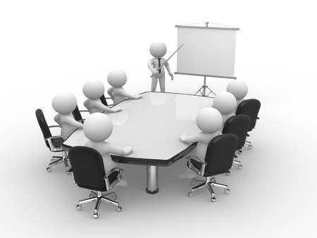 conference speaker: 3d people - human character, person  at conference table and a flipchart . 3d render