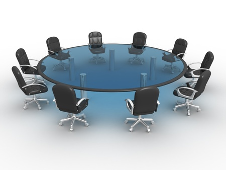 round table conference: Glass conference table . 3d render