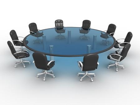 round glasses: Mesa de vidrio conferencia. 3d render